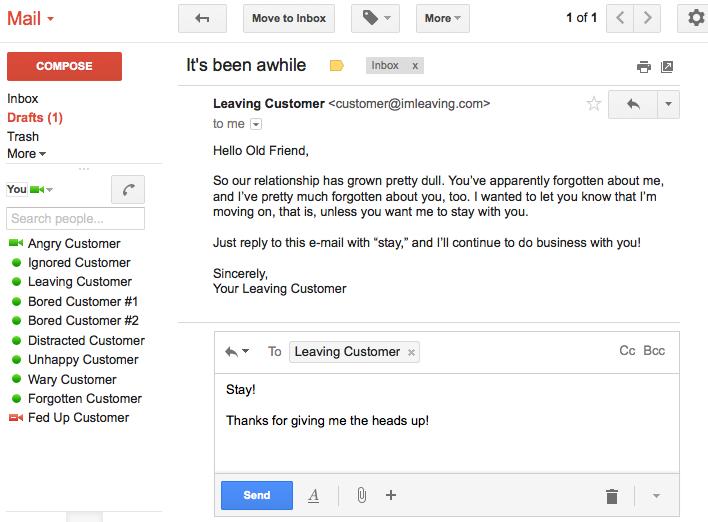 Customer E-mail Leave Notice