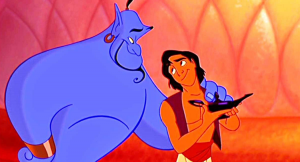 A picture of Aladdin and the Genie