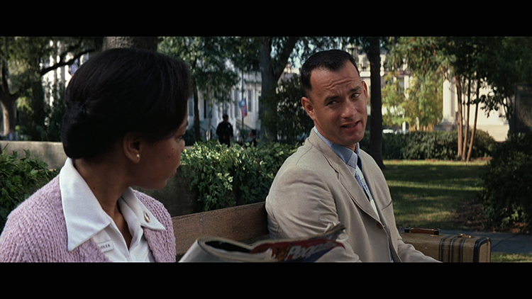 Forrest Gump on the bus stop bench