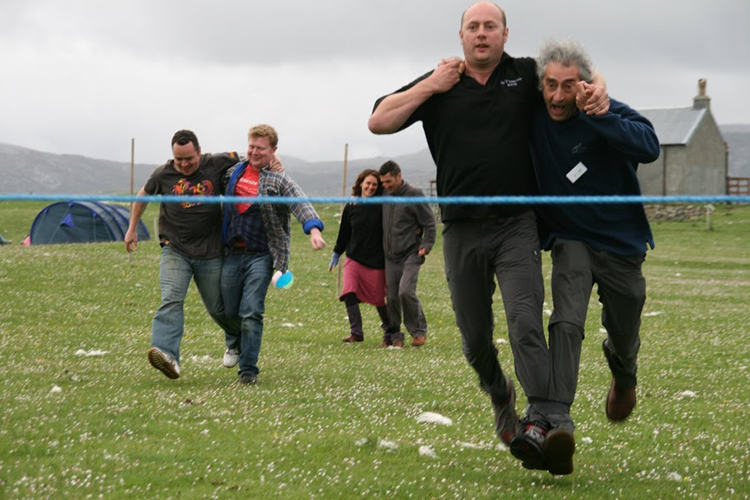 A picture of a three-legged race