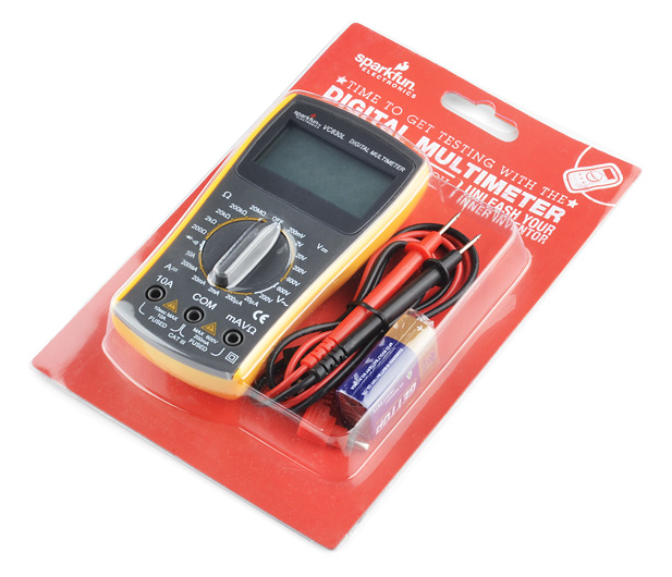 A picture of SparkFun's $15 Yellow Micrometer