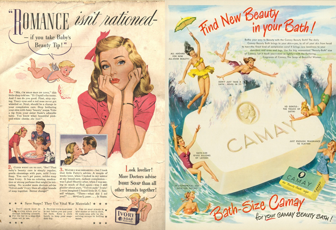 A picture of vintage ads for Ivory Soap (on left) and Camay Soap (right)