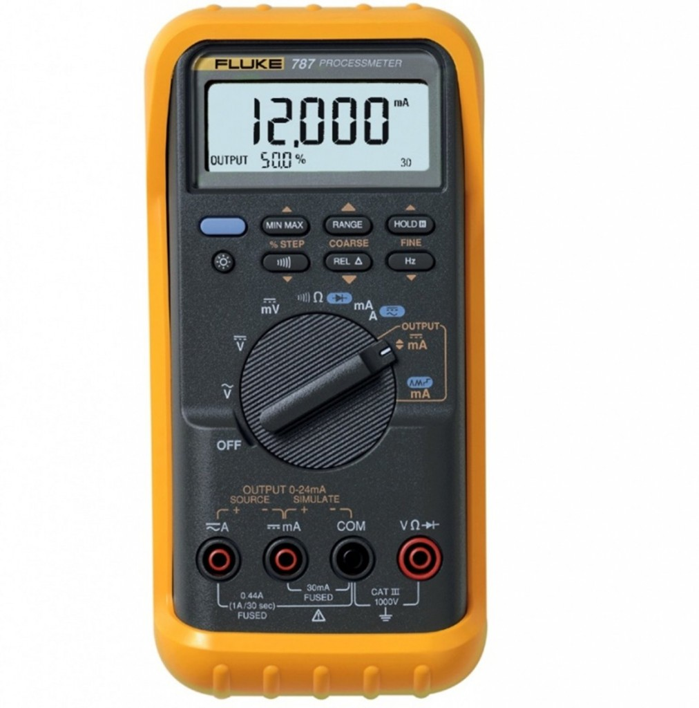 A picture of a yellow Fluke Multimeter