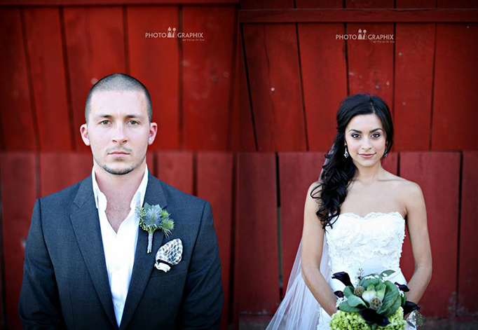 Bride and Groom in front of a Red Barn