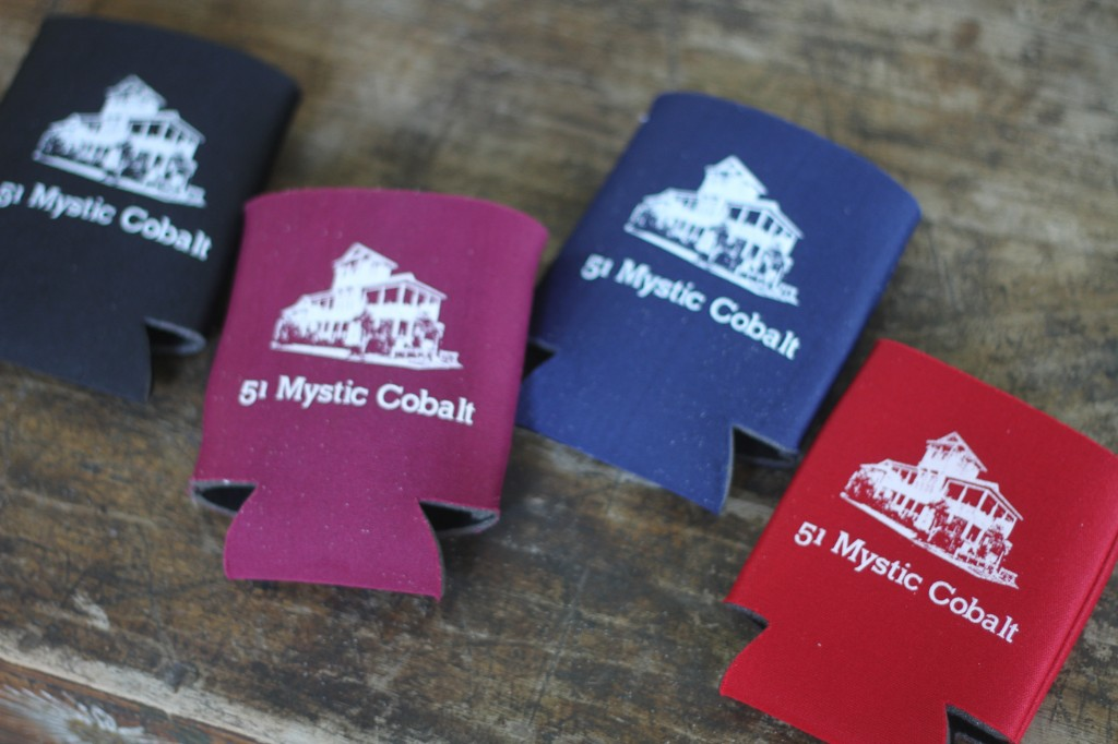 An assortment of custom koozies