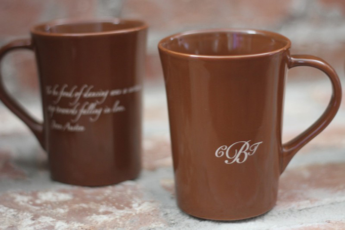 Brown mugs with a monogram or quote as wedding favors