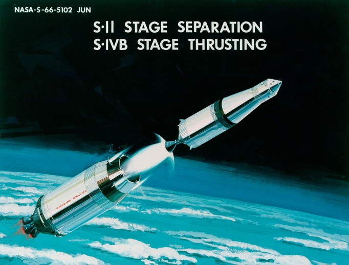 A picture of an Apollo rocket as it detaches from its thrusters