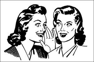 Two women gossiping, whispering in ear.