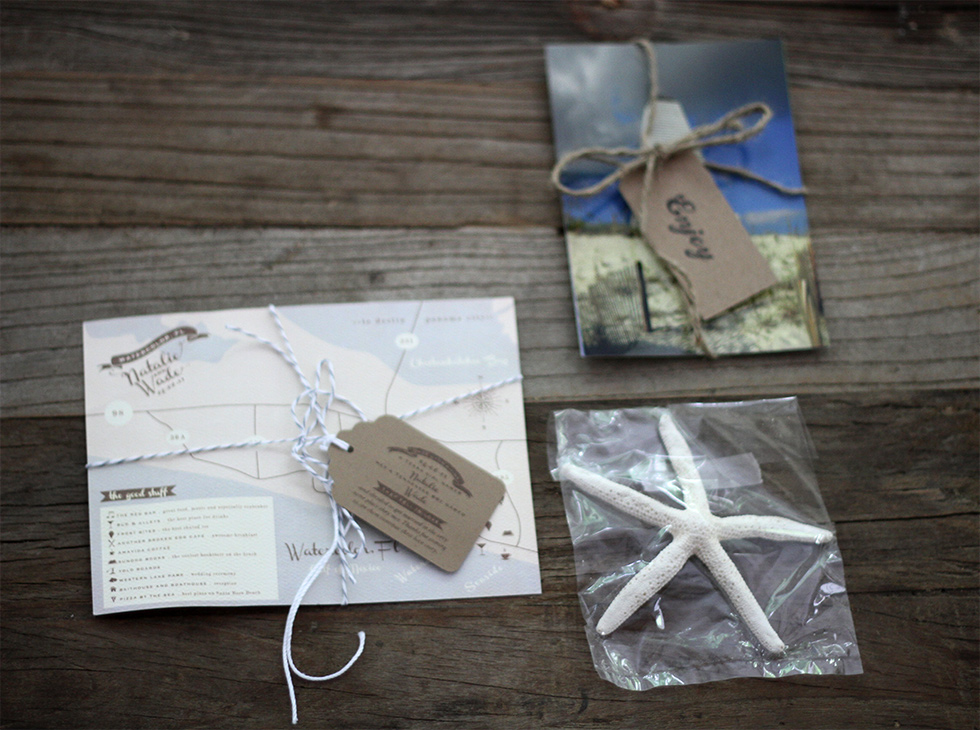 The last items in our wedding bags - postcards, seashells, and a mix cd